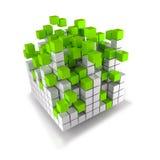 Eixo de pilha dos cubos e dos cubos do verde Fotografia de Stock Royalty Free