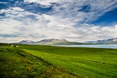 Eiyjafjordur. Scenic view along the Hringvegur (National Road # 1). The fjord is Eyjafjördur while the mountain is background is one of the highest peaks of Royalty Free Stock Photography