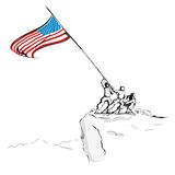 Ejército americano con el indicador Imágenes de archivo libres de regalías