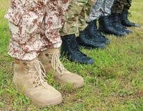 Ejército, botas militares Imagen de archivo libre de regalías