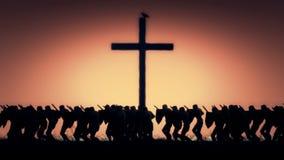Ejército de caballero Marching en una guerra santa almacen de video
