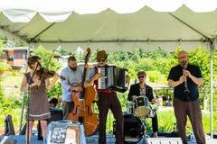 Ejército de NU Klezmer, grupo musical que oscila sus instrumentos Fotografía de archivo libre de regalías