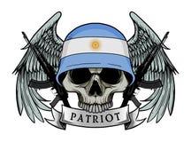 Ejército del cráneo que lleva el casco de la bandera de la ARGENTINA Foto de archivo libre de regalías
