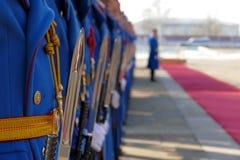 Ejército honorario de las unidades de los guardias de República de Serbia en la meseta todavía que se coloca fotos de archivo libres de regalías
