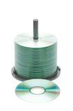 Eje de rotación de los discos cd aislados Fotografía de archivo libre de regalías
