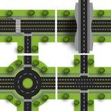 Eje determinado del transporte Las intersecciones de diversos caminos Circulación del cruce giratorio Objetos con la sombra Ilust Imagen de archivo libre de regalías