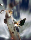Ejection. The  pilot of a  fighter ejects of his  plane which is going to crash Royalty Free Stock Photo
