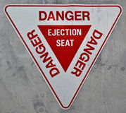 Ejection Seat Sign. An ejection seat sign from the side of a Harrier Jump Jet Royalty Free Stock Images