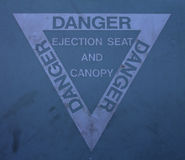 Ejection seat warning sign Royalty Free Stock Photo