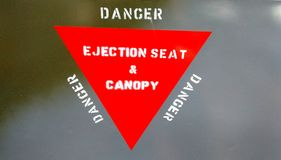 Ejection seat warning Stock Photography