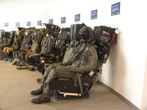 Ejection Seats Right. A row of fighter plane ejection seats with a dummy Stock Image