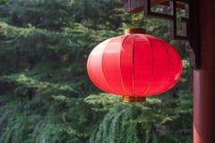 Ejecución china roja de la linterna con los árboles en el fondo Fotos de archivo