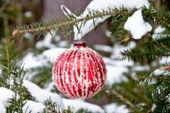 Ejecución de la bola de la Navidad roja y blanca en un árbol Fotos de archivo libres de regalías