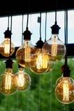 Ejecución de la bombilla de Edison en un alambre largo Luz ámbar caliente acogedora retro Imagenes de archivo