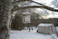 Ejecución de la pajarera del árbol en invierno Foto de archivo