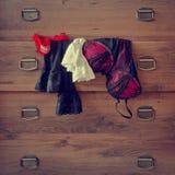 Ejecución de la ropa interior en el aparador Fotos de archivo