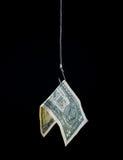 Ejecución del dinero en un gancho de pescados Fotos de archivo