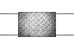 Ejecución del letrero del metal en cadenas fotografía de archivo libre de regalías