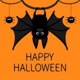 Ejecución del palo Línea web de la rociada de la araña Tarjeta feliz de Víspera de Todos los Santos Personaje de dibujos animados Imagenes de archivo
