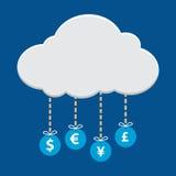 Ejecución del símbolo de moneda del dinero de la nube Foto de archivo