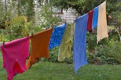 Ejecución que se lava en cuerda para tender la ropa Foto de archivo libre de regalías