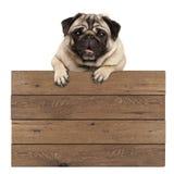 Ejecución sonriente linda del perro de perrito del barro amasado con las patas en muestra promocional de madera en blanco foto de archivo