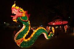 Ejecución tailandesa de la serpiente y de la linterna para la celebración china del Año Nuevo Imagen de archivo