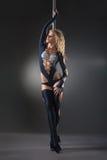 Ejecución atractiva atractiva del bailarín del polo de la mujer Fotos de archivo