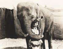 Ejecutante de circo de abarcamiento del elefante Fotos de archivo
