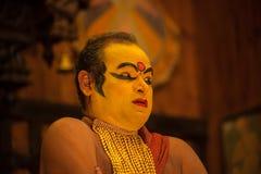Ejecutante de Kathakali en el papel virtuoso del verde del pachcha en Cochin Fotos de archivo libres de regalías