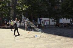 Ejecutante de la calle en d'Armes del lugar en Montreal en Canadá Fotos de archivo