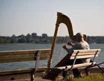 Ejecutante del arpista del músico Fotos de archivo