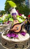 Ejecutante del carnaval de Notting Hill que rasguea el laúd Londres, Inglaterra Imágenes de archivo libres de regalías