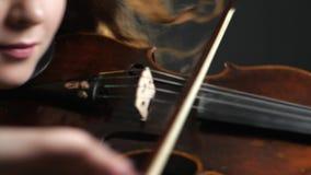 Ejecutante del músico que juega en el instrumento atado en filarmónico almacen de metraje de vídeo