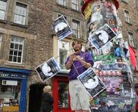 Ejecutante en el festival de la franja de Edimburgo Fotografía de archivo