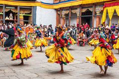 Ejecutante en el festival tradicional de la cultura de Jakar Dzong en Bumthan Imágenes de archivo libres de regalías