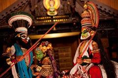 Ejecutantes de Kathakali Imágenes de archivo libres de regalías
