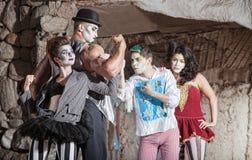 Ejecutantes de la comedia del circo Imagen de archivo