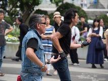 Ejecutantes del Rockabilly en el parque 1 de Yoyogi Imagen de archivo libre de regalías