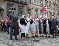 Ejecutantes en el festival 2014 de la franja de Edimburgo Foto de archivo libre de regalías