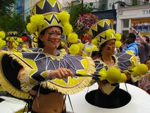 Ejecutantes femeninos Londres Inglaterra del carnaval de Notting Hill Foto de archivo libre de regalías