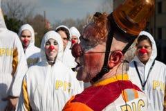 Ejecutantes que participan en Milan Clown Festival 2014 Fotografía de archivo libre de regalías