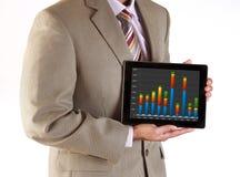 Ejecutivo de operaciones que hace la presentación usando la tableta Imagen de archivo libre de regalías