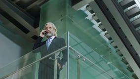 Ejecutivo empresarial mayor que habla en el teléfono móvil en el edificio de oficinas almacen de metraje de vídeo