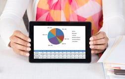Ejecutivo empresarial que muestra la tableta con la carta Imagen de archivo