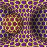 Ejemplo óptico de la ilusión del movimiento Una esfera es rotación alrededor de un hyperboloid móvil ilustración del vector