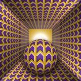 Ejemplo óptico de la ilusión del movimiento Una esfera se está moviendo a través del túnel cuadrado ilustración del vector