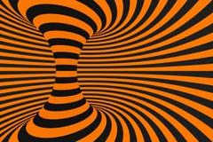 Ejemplo óptico de la trama de la ilusión 3D del túnel Ponga en contraste las líneas fondo Las rayas hipnóticas adornan Modelo geo fotos de archivo