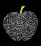Ejemplo único de una manzana con los modelos rayados stock de ilustración