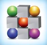 ejemplo 3D de esferas coloreadas y de cubos grises stock de ilustración